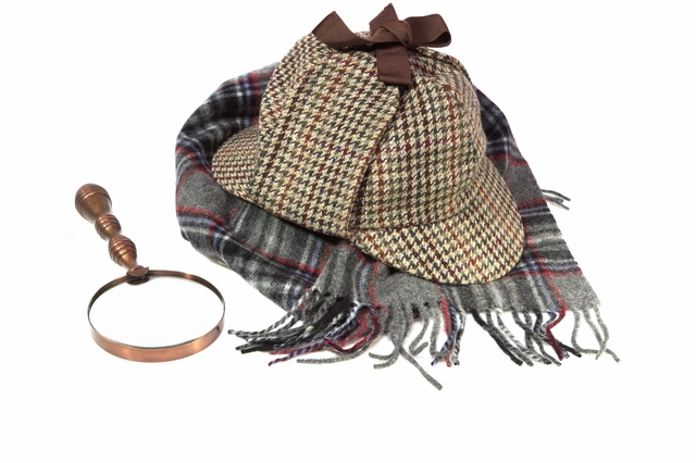 Deerstalker Hat, Retro Magnifying Glass and Woolen Tartan Scarf Isolated on White